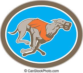 windhund, kreis, laufen hundes, retro