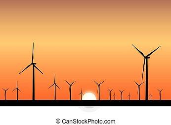 Windkraftwerke.