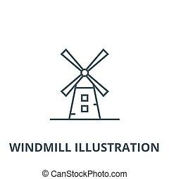 Windmill Illustration Vektorlinie Icon, lineares Konzept, Umrisszeichen, Symbol.