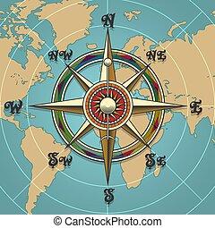 Windrose Kompass Retro Illustration