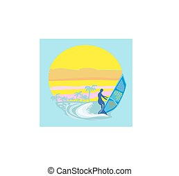 Windsurfer auf der Welle.