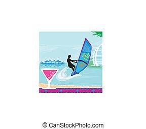 Windsurfer auf der Welle