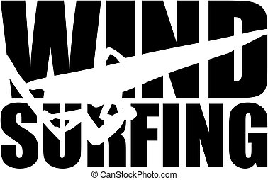 Windsurfing Wort mit Silhouette Cutout.