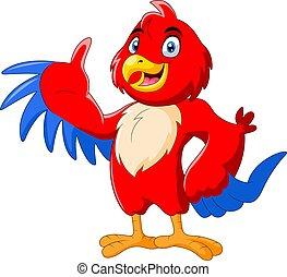 winkende , macaw, karikatur, reizend