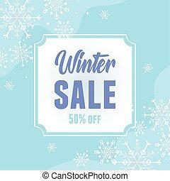 winter, angebot, jahreszeit, rabatt, schneeflocken, banner, verkauf