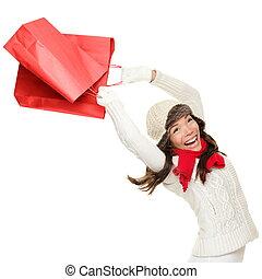 winter, frau- einkaufen, weihnachten