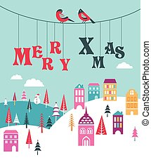 winter, grüßen karte, hintergrund, schablone, weihnachten, fröhlich, stadt