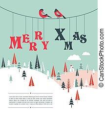 winter, grüßen karte, wald, schablone, hintergrund, weihnachten, fröhlich