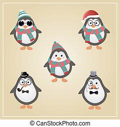 Winter Hipster Pinguine Illustration.