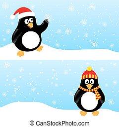 Winter horizontale Banner mit Pinguine.