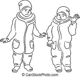 winter, kleine kinder, zwei, clothes., gehen