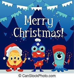 winter, monster, karte, illustration., weihnachten, wohnung, vektor, banner, hintergrund