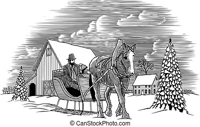 Winter Pferdeschlittenszene