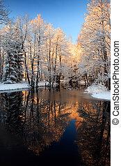 Winter River Golden Sunset.