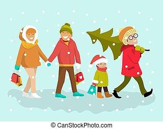winter, säcke, familie, draußen, feiertage, illustration., baum, shoppen, vektor, weihnachten