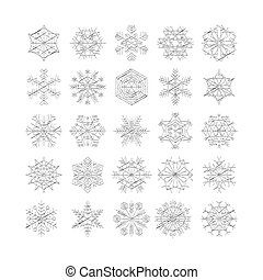 winter, satz, silhouette, freigestellt, hintergrund, schneeflocke, weißes, ikone, vektor, abbildung