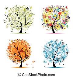 winter., schöne , kunst, fruehjahr, herbst, -, baum, vier, design, jahreszeiten, dein, sommer