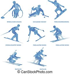winter, set., sport, disabilities., silhouetten, acht, athleten, ikone