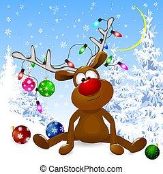 winter, verschneiter , hirsch, vorabend, wald, weihnachten