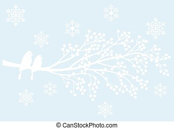 Winterbaum mit Beeren und Vögeln,