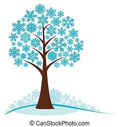 Winterbaum mit Schneeflocken