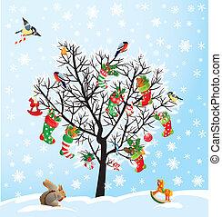 Winterbaum mit Vögeln, Eichhörnchen, Schuhen, Süßigkeiten und Geschenken. Weihnachten und neue Jahreskarte.