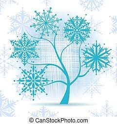 Winterbaum, Schneeflocken. Weihnachten