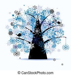 Winterbaum, Schneeflocken. Weihnachten.
