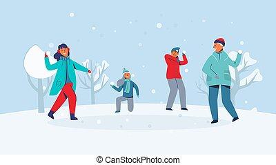 Winterfiguren spielen Schneeball. Joyful people having fun in snow. Jungs und Mädchen, die Schneeball werfen. Vector Illustration