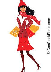 Winterfrau beim Einkaufen