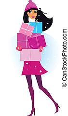 Winterfrau mit Geschenken
