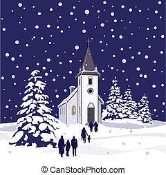 Winterkirche in der Nacht.