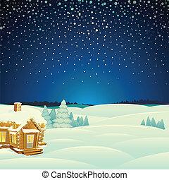 Winterlandschaft. Cartoon Vektor Illustration