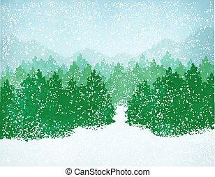Winterlandschaft mit fallendem Schnee.