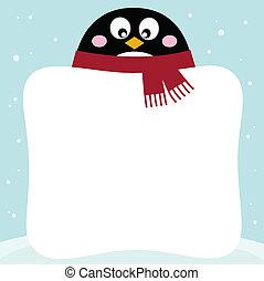 Winterpinguine mit leerem Banner im Schnee