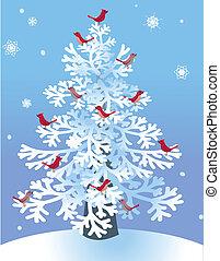 Winterpinne mit roten Vögeln