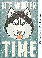Winterposter mit Husky. Vector Illustration, eps 10.