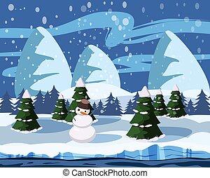 Wintersüße Landschaft, Schneemann, Weihnachtsbäume im Schnee, Fluss, Berge, Vektor, Illustration, isoliert, Cartoon Stil.