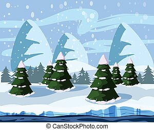 Wintersüße Landschaft, Weihnachtsbäume im Schnee, Fluss, Berge, Vektor, Illustration, isoliert, Cartoon Stil.