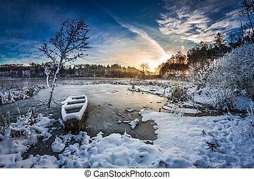 Wintersonne auf dem gefrorenen See.
