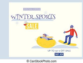 Wintersport-Vektor Illustrations-Banner mit jungem Mann Snowboarden und Kind Reiten auf der Schneeröhre.