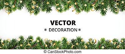 Winterurlaub. Grenze mit Weihnachtsbaum Ästen und Ornamenten.