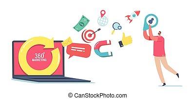 winzig, concept., heiligenbilder, zeichen, 360, medien, laptop, mann, pfeil, fliegendes, schirm, heraus, grad, riesig, marketing, drehung