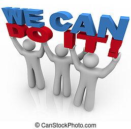 Wir können es schaffen - drei Menschen heben Worte