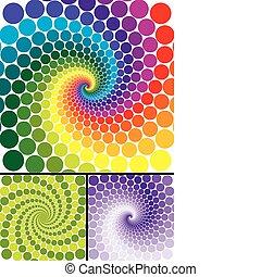 wirbel, regenbogen, veränderungen, farbe