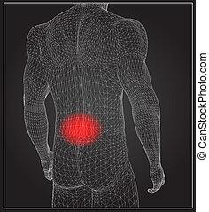 Wireframe Körper mit Schmerzkonzept.