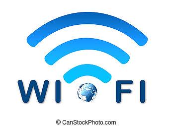 Wireless Network Blausymbol mit Erde