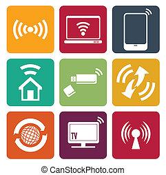 Wireless Technologie Web Icons gesetzt.