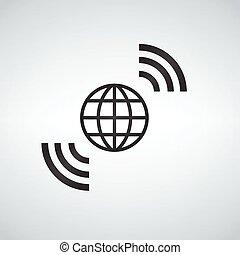 Wireless World Wifi Earth Breitband-Symbol für den weltweiten Internetzugang.