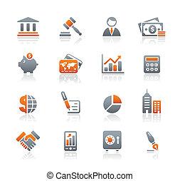 Wirtschafts- und Finanz-Ikonen / Graphit